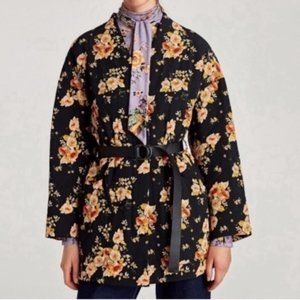 NWT Zara floral quilted belted jacket